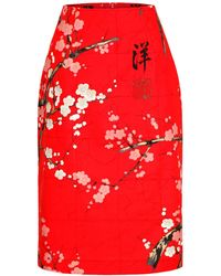 Marianna Déri - Pencil Skirt Emma Cherry Blossom Red - Lyst