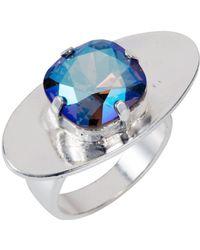 Nadia Minkoff - Oval Textured Ring Blue Shimmer - Lyst