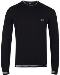 BOSS Green - Rimex Black Knitted Cotton Sweatshirt - Lyst
