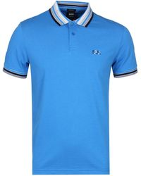 BOSS Green - Paddy1 Blue Pique Polo Shirt - Lyst