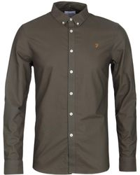 Farah - Brewer Khaki Slim Fit Oxford Shirt - Lyst