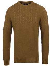 Barbour - Craster Antique Gold Knitted Crew Neck Sweater - Lyst