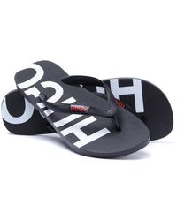 a836ab591c6f Lyst - HUGO By Boss Delight Leather Slider Sandals in Black for Men