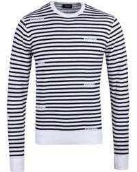 Armani Jeans - Black & White Stripe Crew Neck Sweater - Lyst