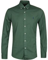Polo Ralph Lauren - Slim Fit Garment Dyed Green Twill Shirt - Lyst