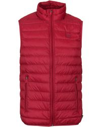Armani Jeans - Deep Red Padded Quilted Gilet - Lyst