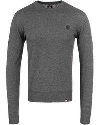 Pretty Green - Hinchcliffe Grey Wool Knitted Crew Neck Jumper - Lyst