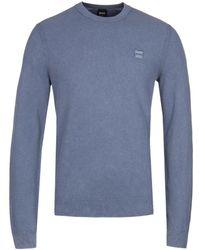 BOSS by Hugo Boss - Kalassy Pale Blue Cotton Sweater - Lyst