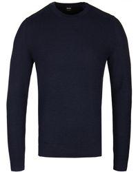 BOSS Orange - Navy Kelvor Knitted Crew Neck Jumper - Lyst