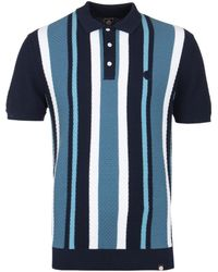 Pretty Green - Langworthy Navy Striped Knitted Polo Shirt - Lyst