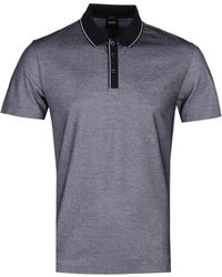 51208fbd9 Piket 13 Regular Fit Polo Shirt Light Blue. £77 · BOSS - Piket 13 Contrast  Placket Charcoal Polo - Lyst