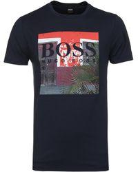 BOSS Orange - Tux 1 Navy Printed Crew Neck T-shirt - Lyst