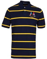 Polo Ralph Lauren - Navy & Yellow Stripe Cross Flags Polo Shirt - Lyst