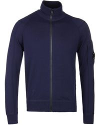 C P Company - Navy Lens Knitted Zip Up Cardigan - Lyst