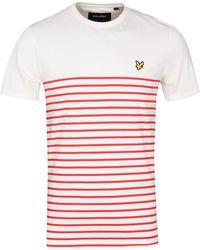 Lyle & Scott - Tomato Red Breton Stripe T-shirt - Lyst