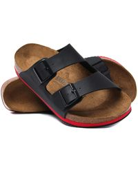 Birkenstock - Arizona Black Red Stripe Leather Sandals - Lyst