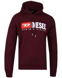 DIESEL - S-division Felpa Burgundy Logo Hoodie - Lyst