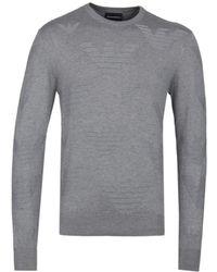 Emporio Armani - Eagle Pattern Grey Jumper - Lyst