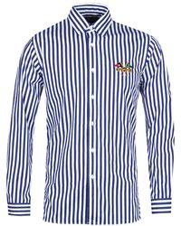Polo Ralph Lauren - Slim Fit Cross Flags Blue Striped Shirt - Lyst
