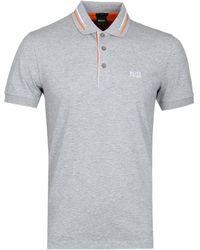 BOSS Green - Boss Paule2 Grey Marl Polo Shirt - Lyst