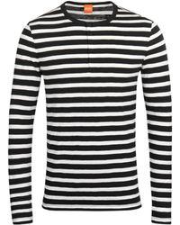 BOSS Orange - Translation Navy & White Striped Henley Shirt - Lyst