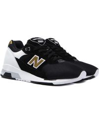49d60790857de New Balance - 1991 Made In England Black   Gold Suede Trainers - Lyst