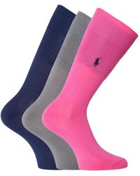 Polo Ralph Lauren - 3 Pack Navy, Grey & Pink Socks - Lyst