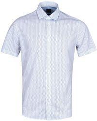 BOSS Orange - Raindrop White Short Sleeve Shirt - Lyst