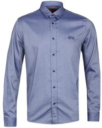 HUGO - Evory-logo Dark Blue Shirt - Lyst