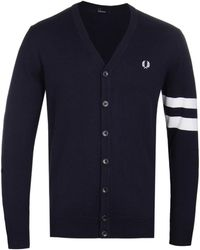 Fred Perry - V-neck Cardigan In Navy - Lyst