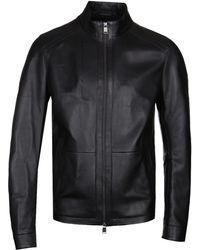 BOSS - Nestal Black Fine Nappa Lambskin Jacket - Lyst
