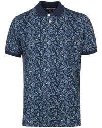 Pretty Green - Floral Print Navy Polo Shirt - Lyst