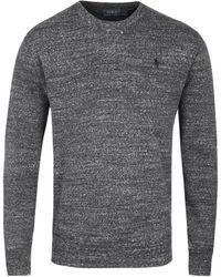 Polo Ralph Lauren - Charcoal Grey Melange Crew Neck Knitted Cotton Jumper - Lyst
