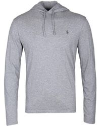 Polo Ralph Lauren - Grey Marl Hooded Long Sleeve T-shirt - Lyst