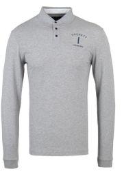 Hackett - Mr. Classic Grey Marl Long-sleeve Polo Shirt - Lyst