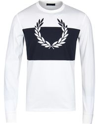 Fred Perry - Snow White Blocked Laurel Wreath T-shirt - Lyst