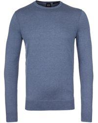 BOSS Orange - Kwasiros Cadet Blue Cashmere Knit Jumper - Lyst