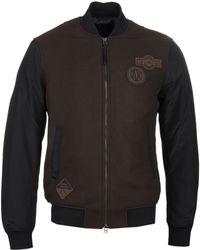 Emporio Armani - Dark Olive Wool Bomber Jacket - Lyst