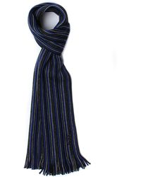 BOSS Green | Fadono Blue / Black Striped Woollen Scarf | Lyst