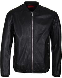 HUGO - Lewy Black Leather Bomber Jacket - Lyst