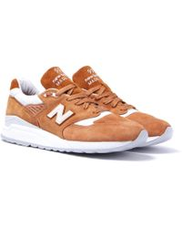 New Balance - Made In The Usa 998 Tan Suede Trainers - Lyst