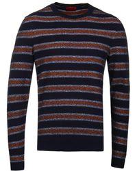 HUGO - Savor Navy & Orange Stripe Knit - Lyst