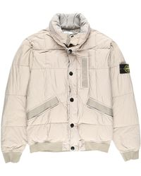8b39e3138 Stone Island Logo Patch Crinkled Down Bomber Jacket in Green for Men ...