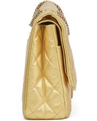 90c433642906 Chanel - Gold Quilted Aged Metallic Calfskin Leather 2.55 Reissue 227  Double Flap Bag - Lyst
