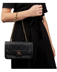 af2f25f80ead Chanel - Black Quilted Lambskin Vintage Small Diana Classic Single Flap Bag  - Lyst