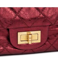 Chanel - Dark Red Quilted Metallic Aged Calfskin Leather 2.55 Reissue 227 Double Flap Bag - Lyst