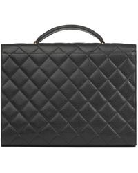 Chanel - Black Quilted Caviar Leather Jumbo Xl Classic Briefcase - Lyst