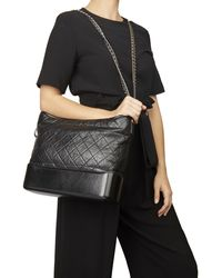 Chanel - Black Quilted Aged Calfskin Leather Gabrielle Hobo Bag - Lyst