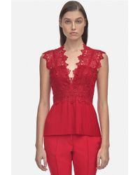 Yigal Azrouël - Coral Embroidery Pleated Top - Lyst
