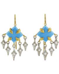 Cathy Waterman - Turquoise Diamond Fringe Earrings - Lyst